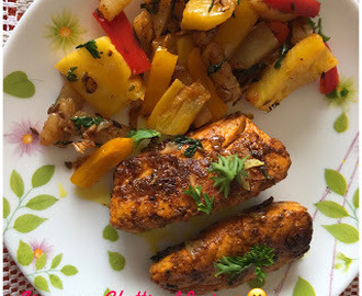Pan fried Salmon Fillets with grilled Veggies