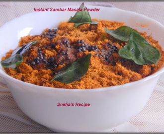 Instant Sambar Masala Powder - How to make Instant Sambar Without Adding Dal