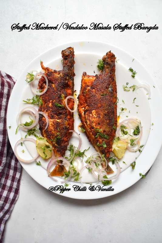 Stuffed Mackerel/Bangda Stuffed with Vindaloo Masala/Rechado  Mackerel