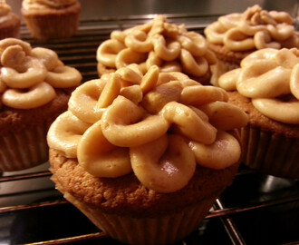 Peanutbutter cupcakes med saltede peanuts og chocolate chips