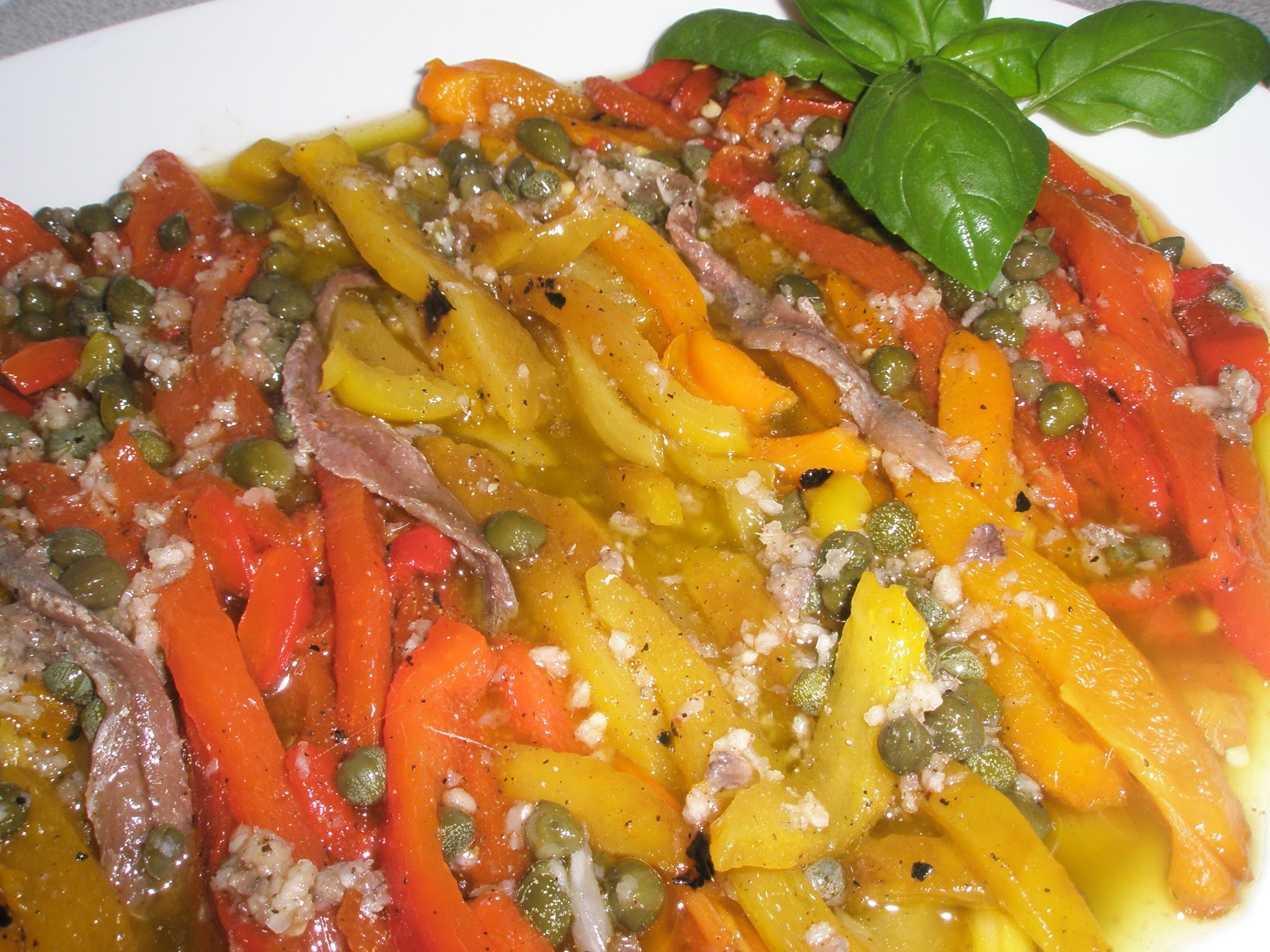 Roasted Peppers with Capers and  Anchovies
