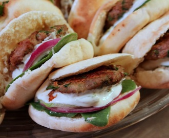 Greek Style Turkey Spinach Pita Sliders with Spicy Garlic Feta Sauce