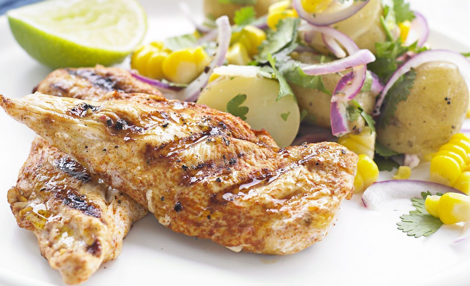 Smoked Chicken with Corn / Potato Salad Recipe