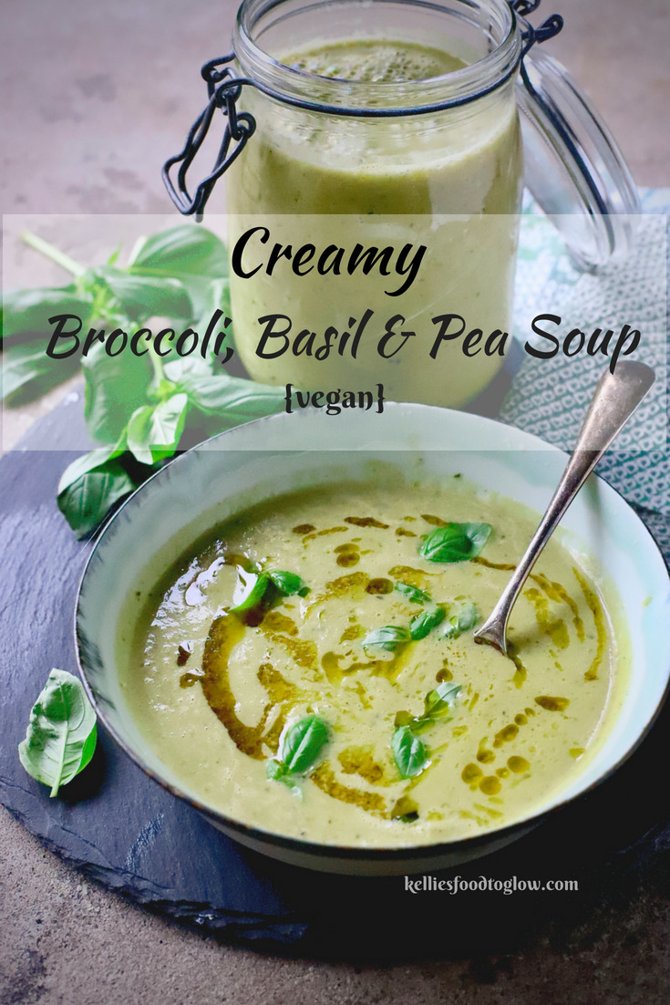 Super-Creamy (and Vegan) Broccoli, Basil and Pea Soup