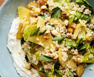 Vegetarian Brown Rice Salad With Parsnips and Whipped Ricotta