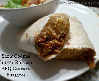 Slow Cooker Cheesy Rice and BBQ Chicken Burritos