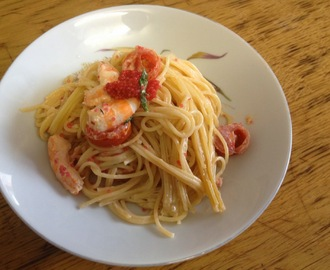 Creamy Shrimp and Fish Roe Pasta