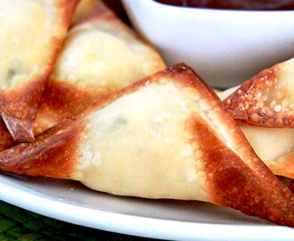 Baked Pineapple Cream Cheese Wontons with Pineapple Sweet and Sour Sauce