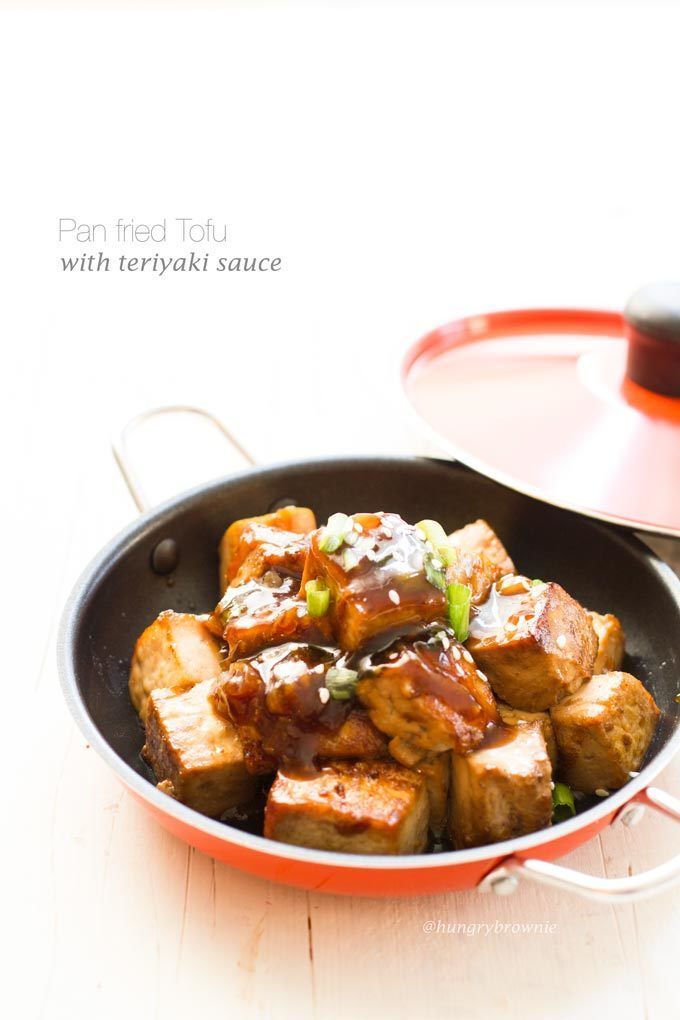 Pan fried tofu with teriyaki sauce