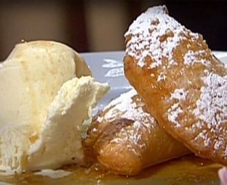 Fried Apple Pie with Vanilla Bean Ice Cream and Apple-Brown Butter Caramel