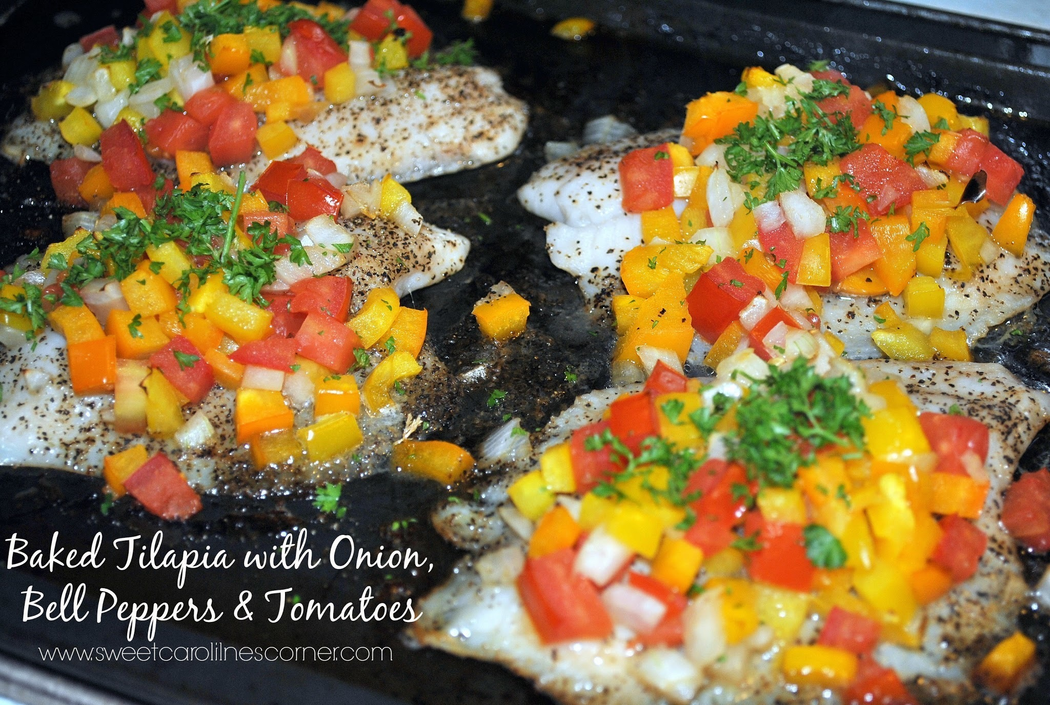 Baked Tilapia with Onion, Bell Peppers & Tomatoes