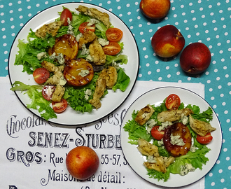 Grilled nectarine and chicken salad with blue cheese
