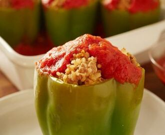 Ground Beef & Quinoa-Stuffed Peppers
