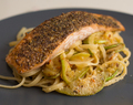 Fennel-crusted Salmon with Courgette Linguine