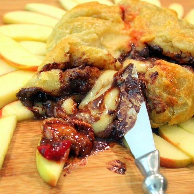 Baked Brie with Cherries and Chocolate - 52 Church PotLuck Appetizer (or Dessert)