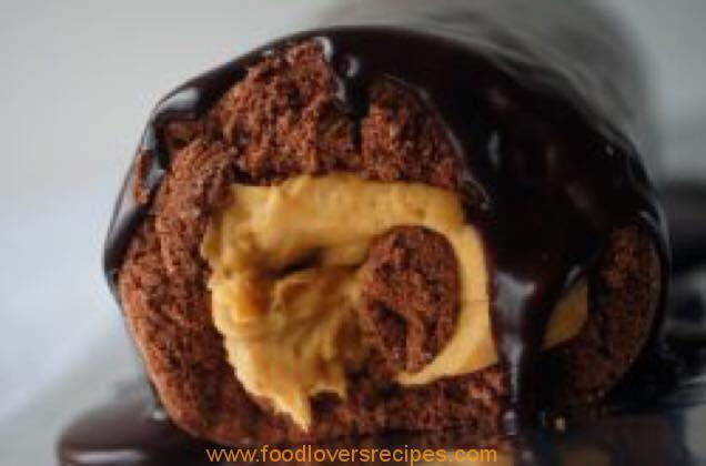 CHOCOLATE SWISS ROLL WITH CARAMEL SPREAD ORLEY WHIP
