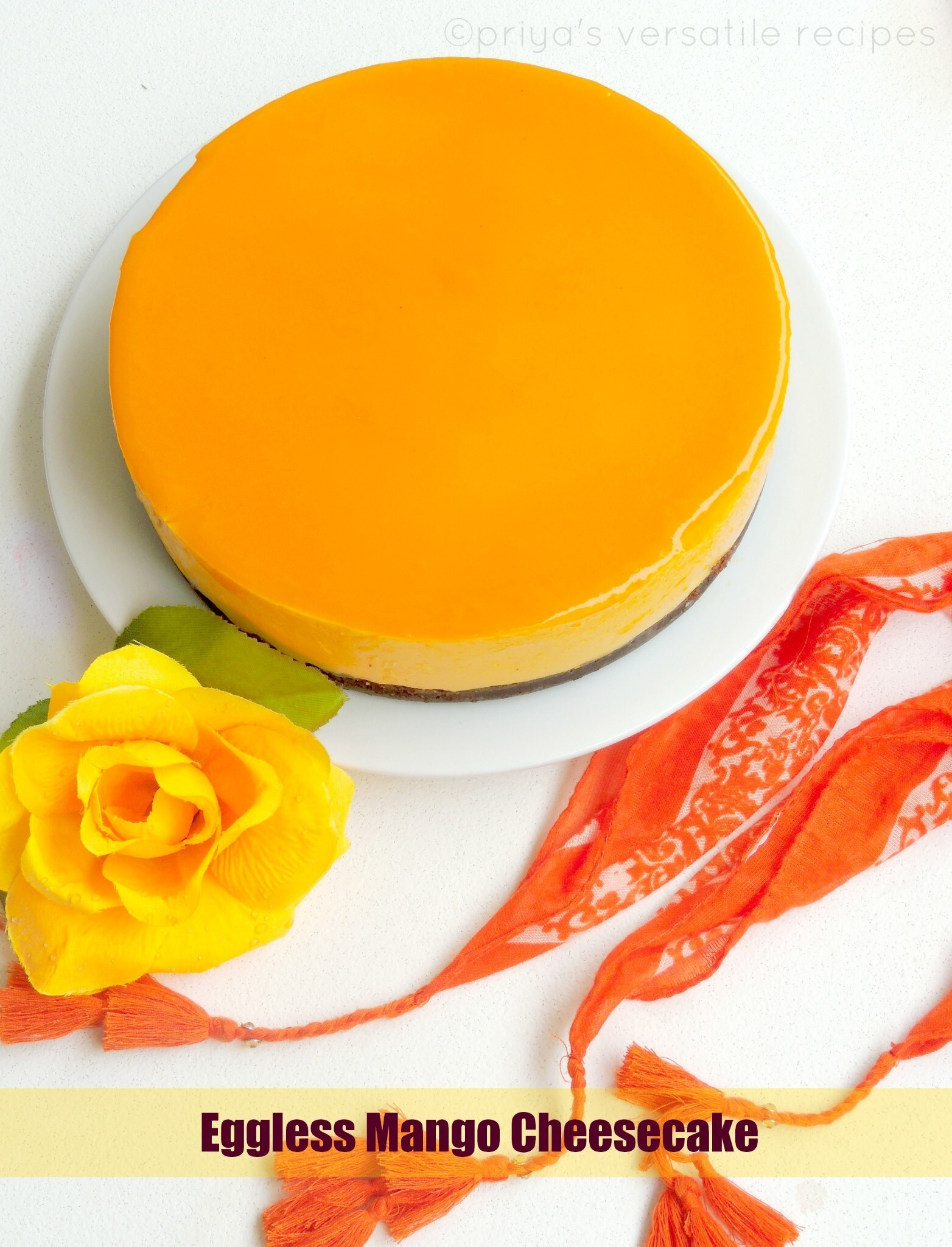 Eggless Mango Cheesecake with Agar Agar