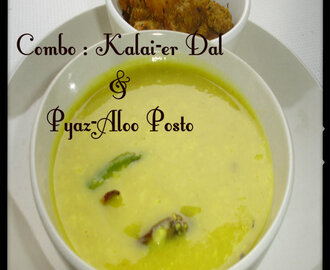 Bengali's Hot favorite combo : Kalai-er Dal r Aloo Posto (Urad dal in Bengali style n Potato with poppy seed paste)