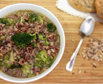 Minestra broccoli e cereali