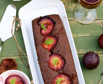 Chocolate Almond Cake with Caramelized Plums in Cognac