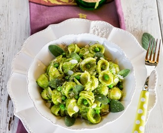 Pasta with Pea, Sage & Pecorino Pesto
