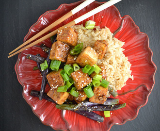 Mongolian Tofu and Green Beans with Rice