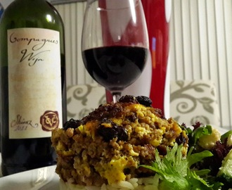 Delicious Bobotie with Compagnies Wijn Shiraz