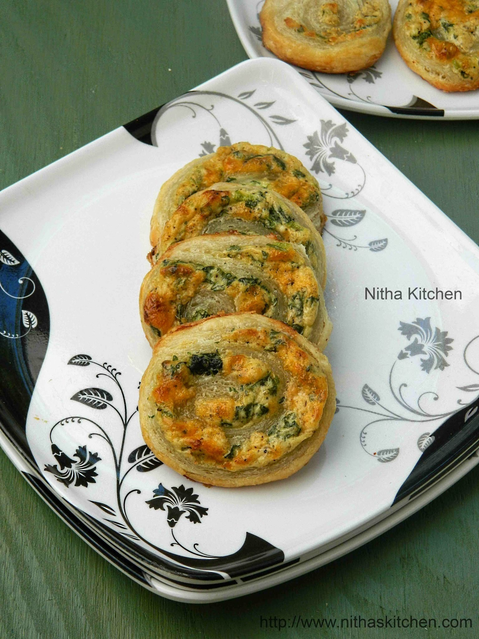 Spinach Cheese Swirls Using Homemade Puff Pastry | Savory Pastry Pin Wheels