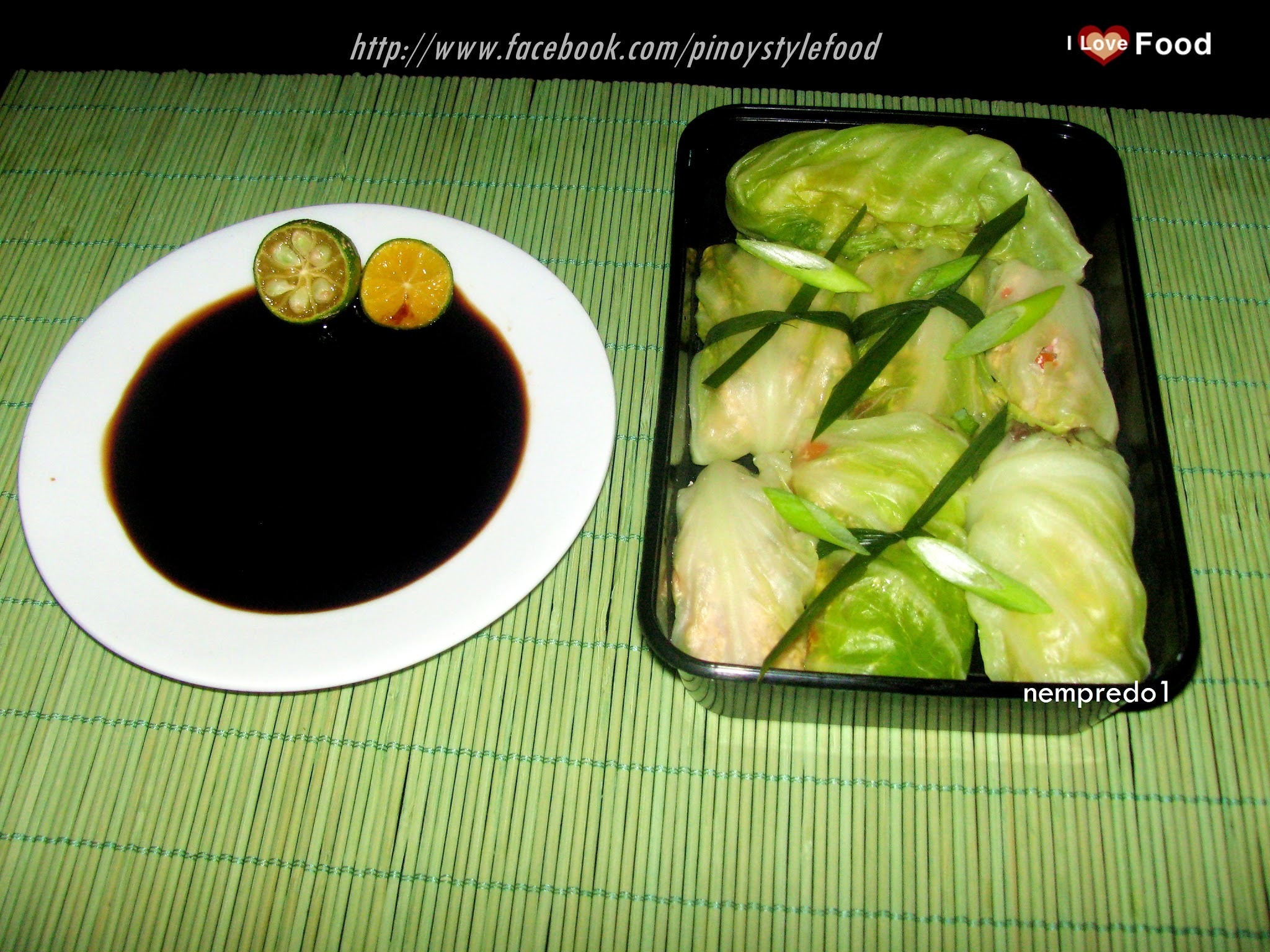 Ground pork wrap in cabbage leaves