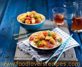SWEET AND SOUR MUSHROOMS AND CHICKEN