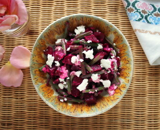Simple Summer Beetroot, Green Beans and Goat Cheese Salad