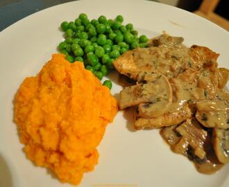 MUSHROOM CHICKEN WITH MASHED SWEET POTATOES