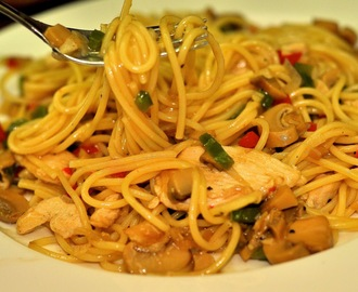 Spaghetti with Chicken in Mushroom Sauce