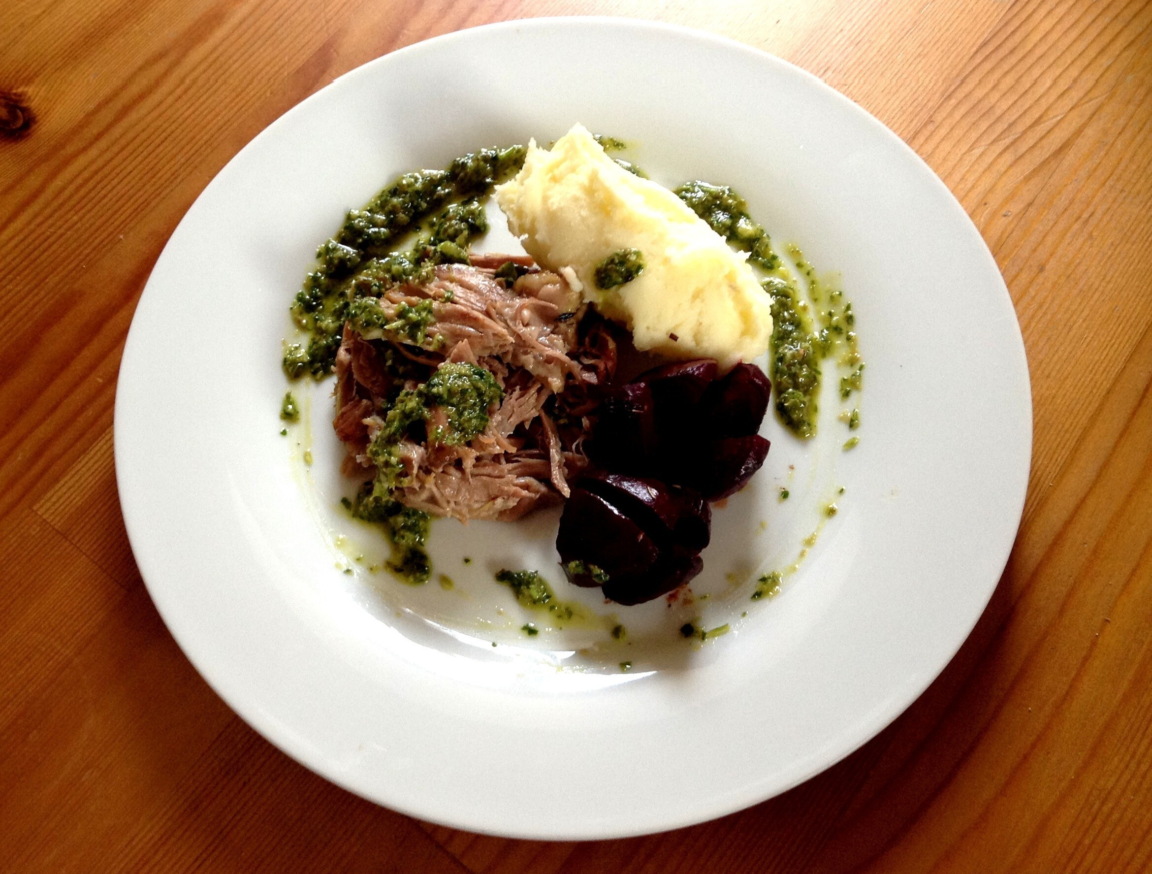 6-hour Confit Shoulder of Lamb with Salsa Verde and Roasted Rosemary Beets