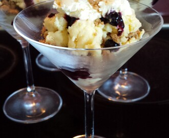 Gingernut, blueberry and lemon mascarpone dessert