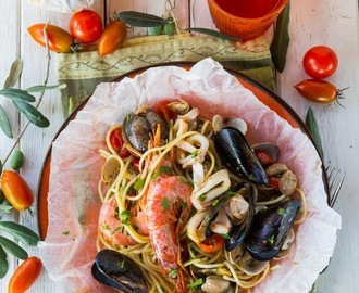 Seafood Spaghetti Baked in Parchment Pouches