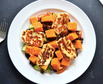 Sweet potato / halloumi / black bean salad w honey/lime dressing