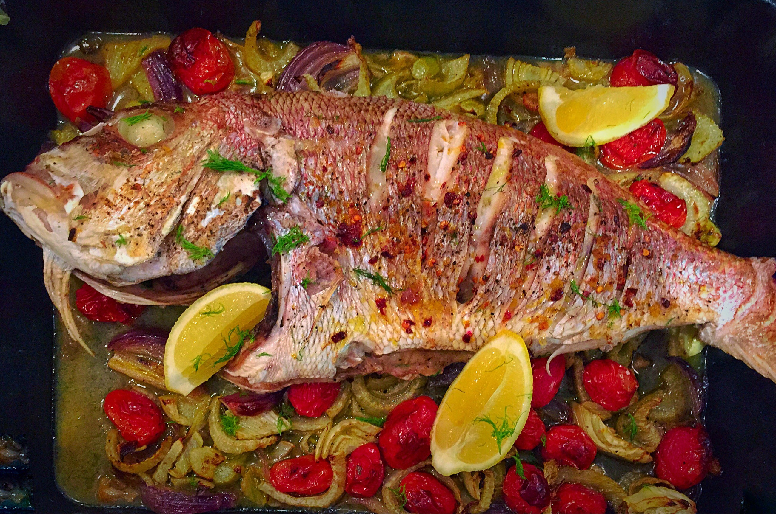 Whole Baked Fish with Fennel, Tomato & Pine Nuts