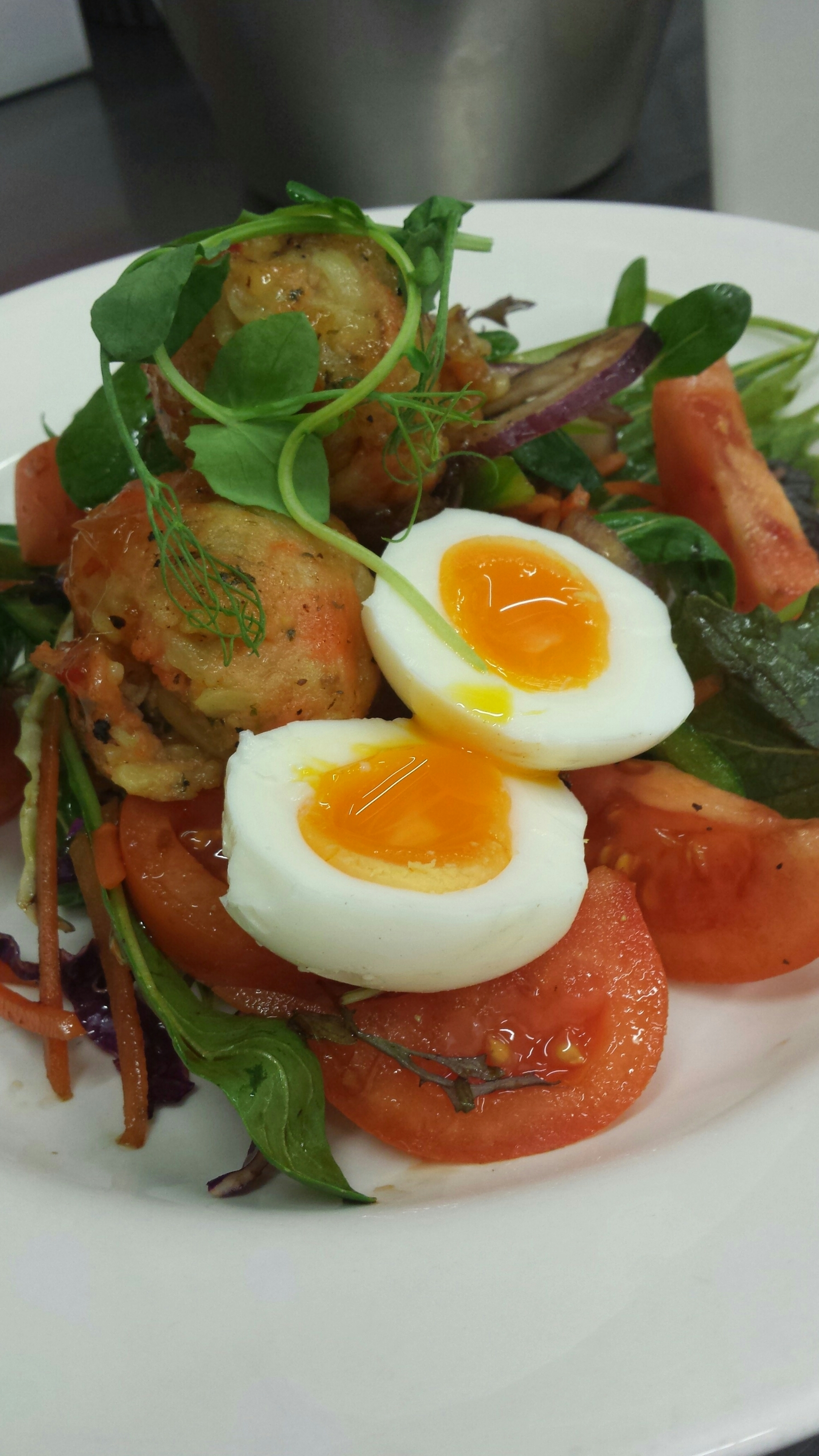 Fish friday…… fish ball with soft boiled egg garden salad
