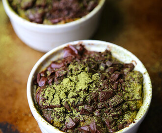 Bread Pudding (Dark Chocolate & Green Tea Powder)