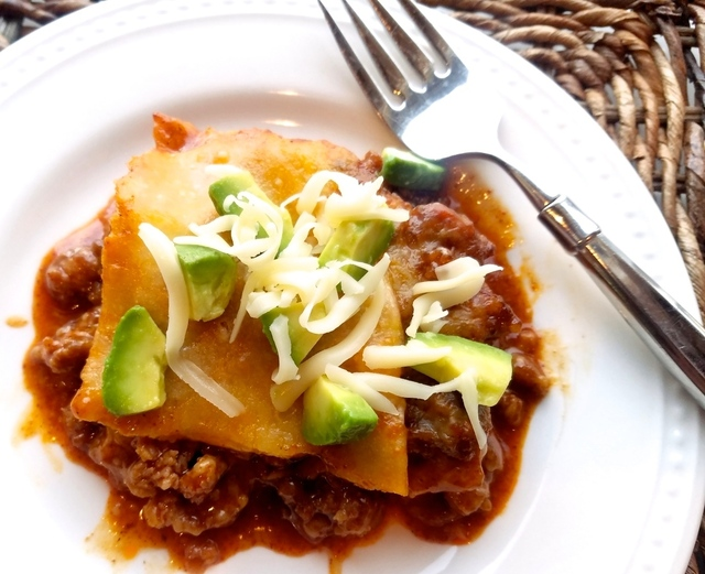 Enchilada Casserole with Homemade Sauce