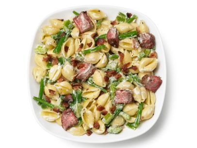 Pasta Salad With Steak, Bell Pepper, Green Beans and Bacon