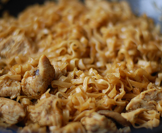 Noodles with chicken meat