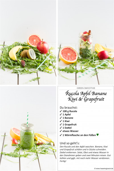GREEN SMOOTHIE: Rucola, Apfel, Banane, Kiwi & Grapefruit