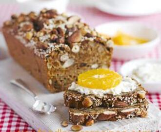 FIG NUT AND SEED BREAD WITH RICOTTA AND FRUIT