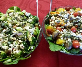 Popeye salad and Roasted butternut, mushroom salad
