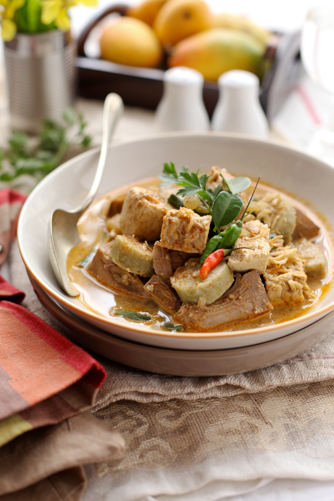 Lontong Lodeh  / Variant vegetables stewed in coconut milk serve with rice cakes