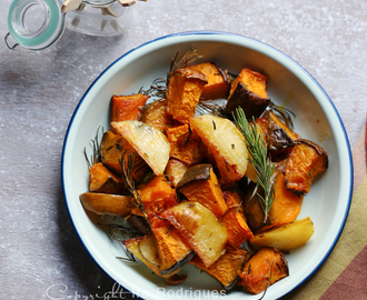 Rosemary garlic roasted potatoes and pumpkin
