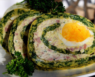 Šareni rolat od spanaća / Spinach Roulade with cream cheese and ham