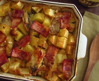 Cod in the oven with bacon and honey